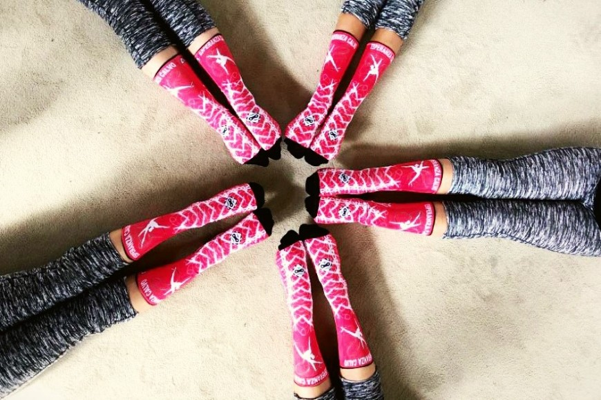 The Esperanza Calvo Rhythmic Gymnastics Club personalizes her socks with Doppio Slavo